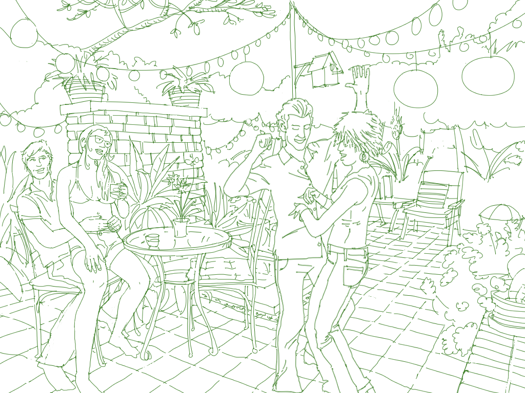 An illustrated scene of a backyard party