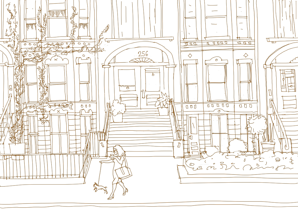 A drawing of a city brownstone with a woman walking her dog on the sidewalk