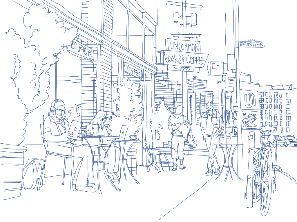 A drawing of a city street featuring people sitting outside the Uncommon Cafe