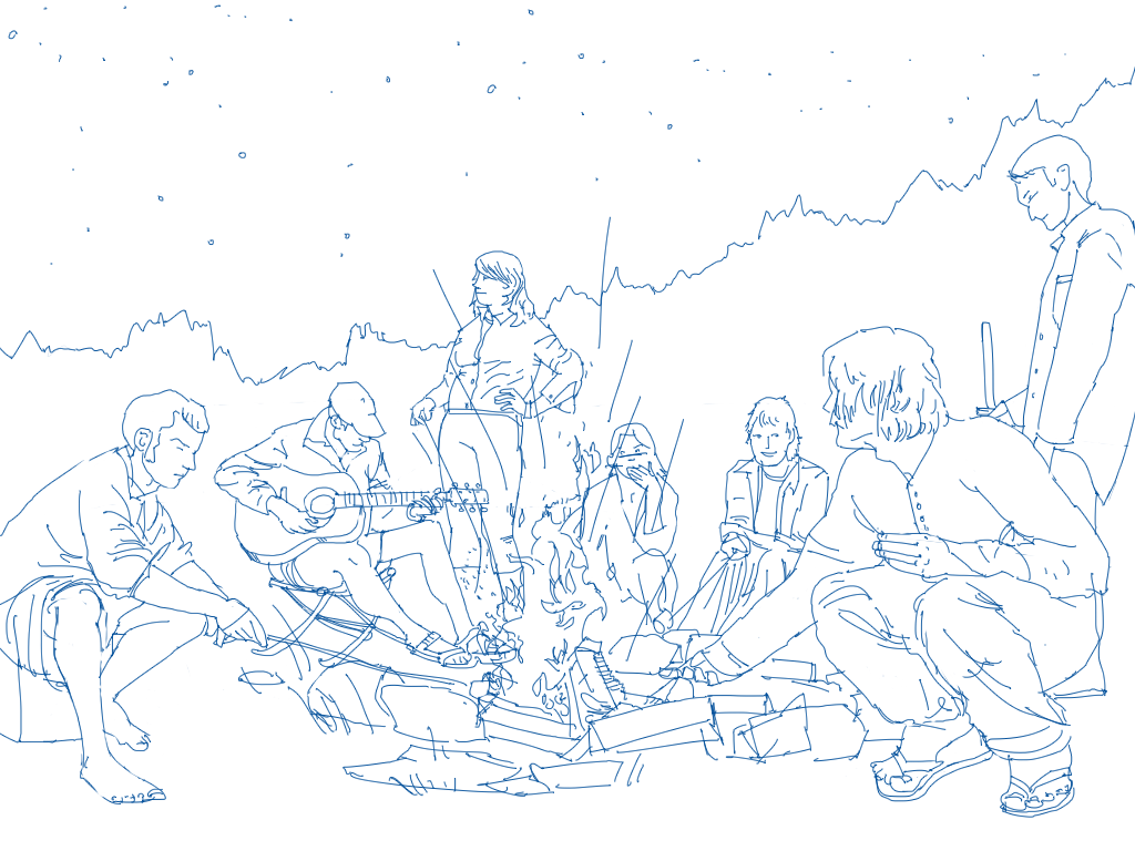 Illustrated scene of people around a campfire