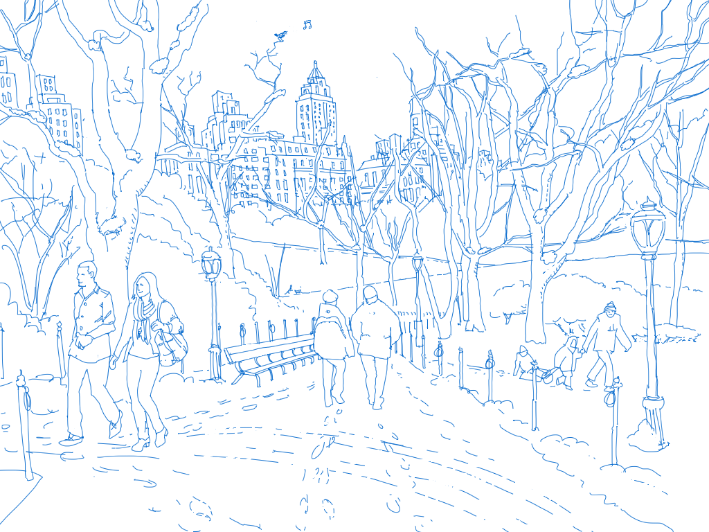 Illustrated winter scene of people walking through a city park.