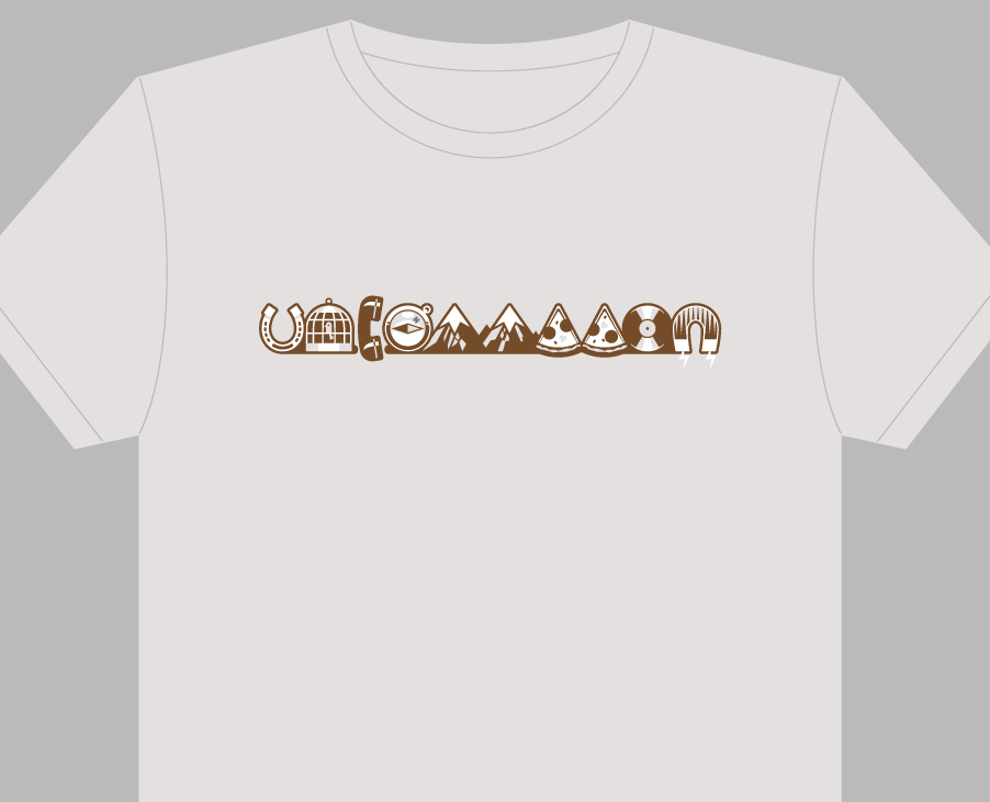 A mockup of a shirt with an Uncommon logo. Each letter is a different object.