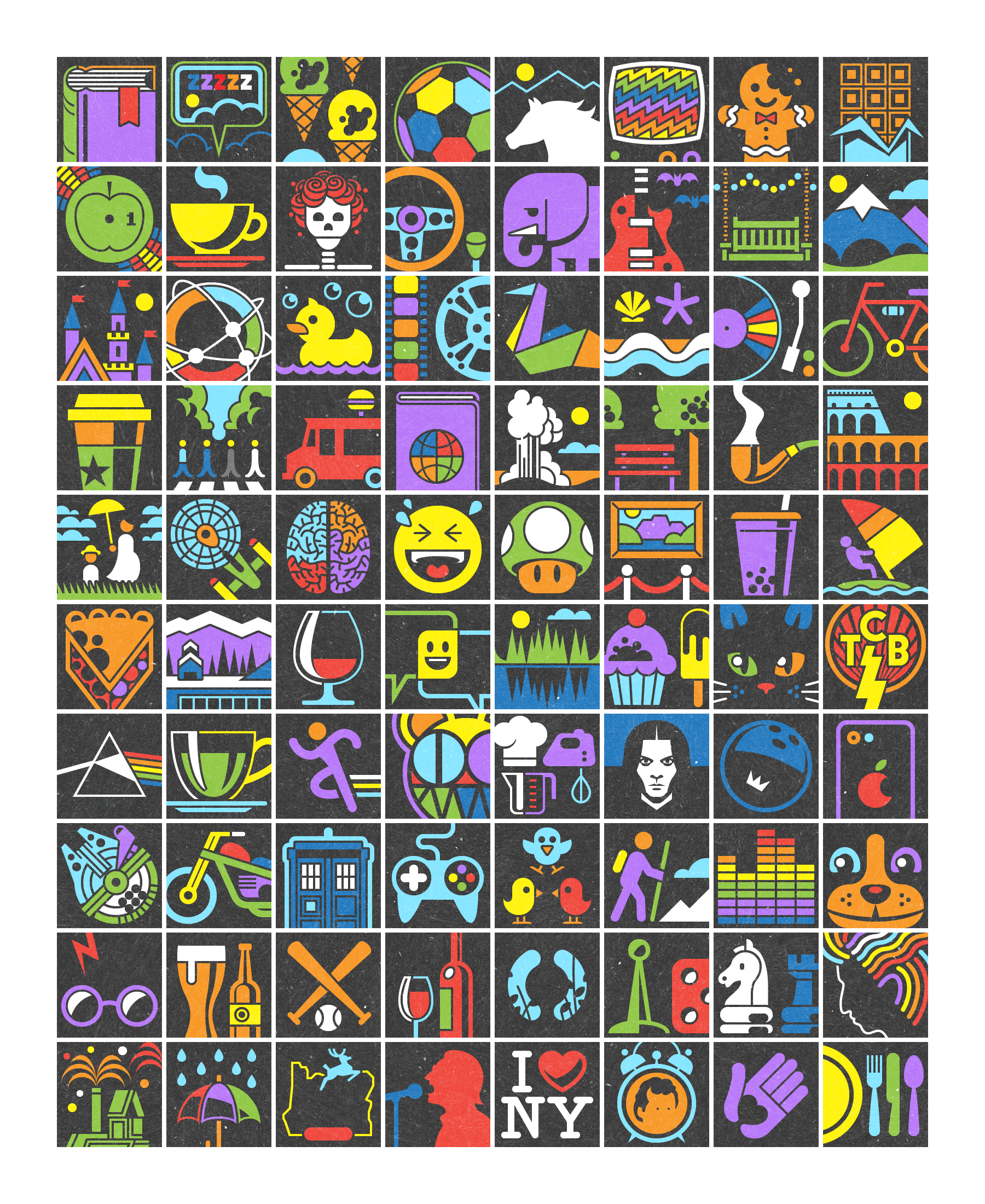 80 illustrated icons representing everything from cats and baseball to sleeping and Star Trek