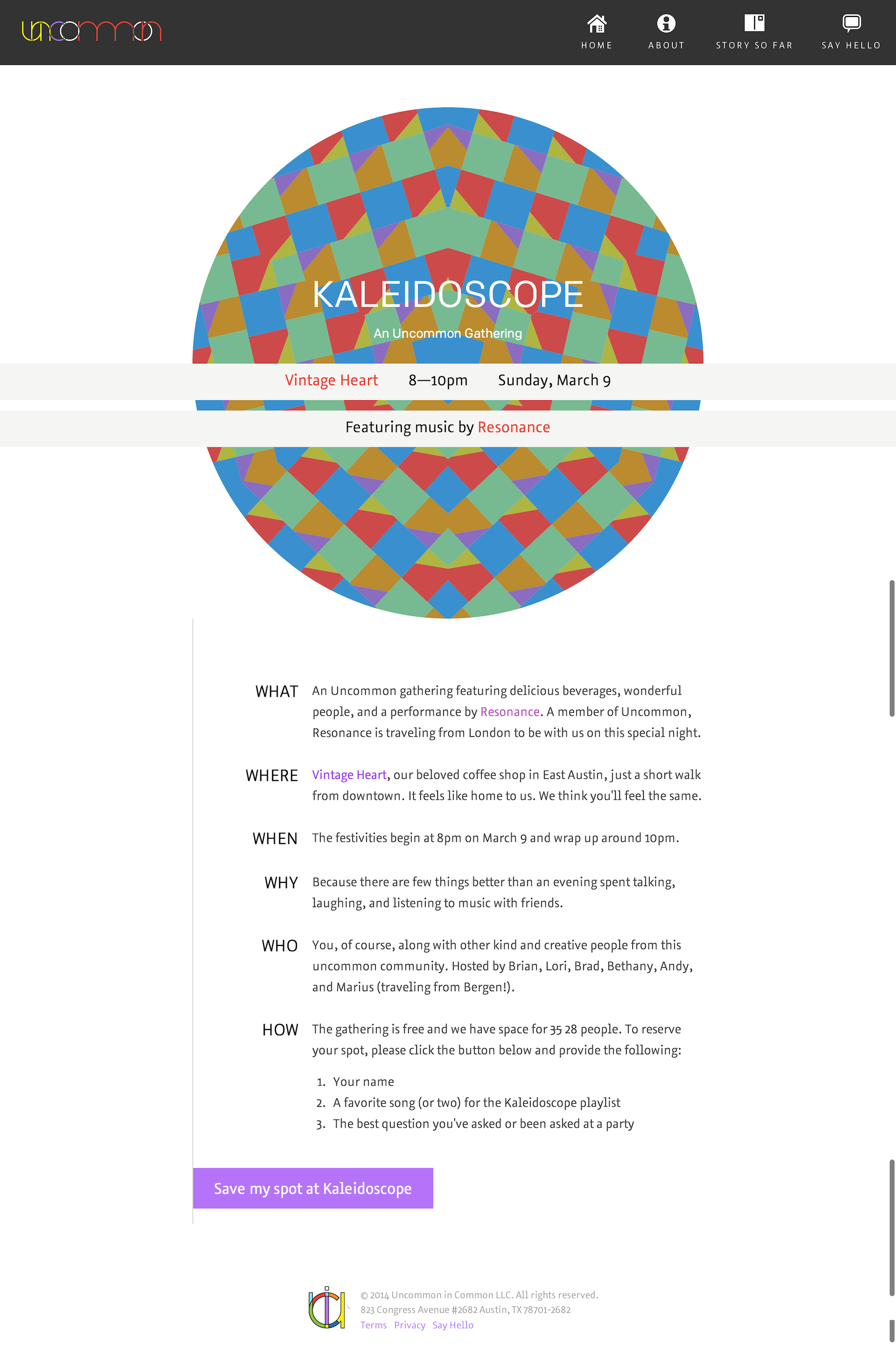 The web page inviting people to attend the Kaleidoscope gathering.